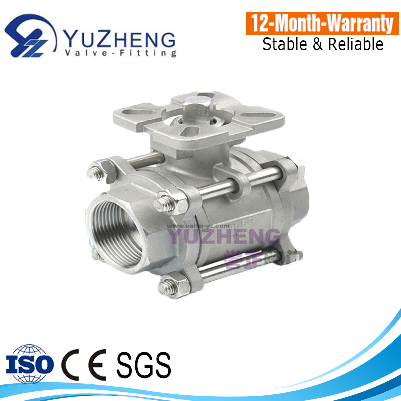 3PC Stainless Steel Ball Valve WIth Mounting Pad